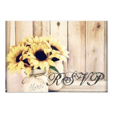 rustic sunflowers mason jar wedding rsvp