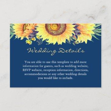 rustic sunflowers navy blue wedding details insert