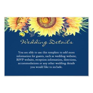 rustic sunflowers navy blue wedding details insert card
