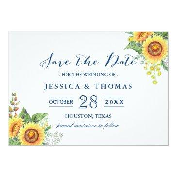 Small Rustic Sunflowers Navy Blue Wedding Save The Date Front View