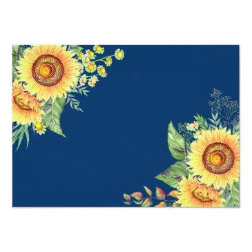 Small Rustic Sunflowers Navy Blue Wedding Save The Date Back View