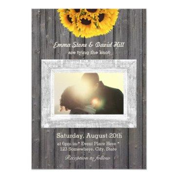 rustic sunflowers weathered wood photo wedding invitation