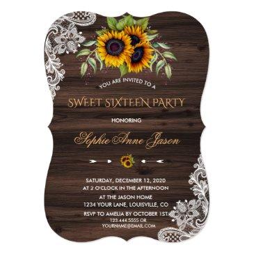 rustic sunflowers wood sweet sixteen party invitation