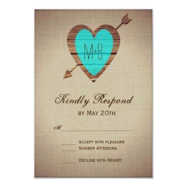 rustic teal heart arrow wedding rsvp