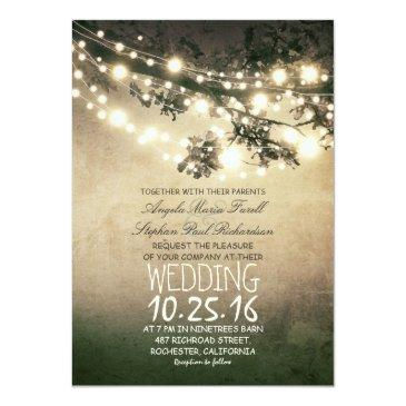rustic tree branches and lights vintage wedding invitations