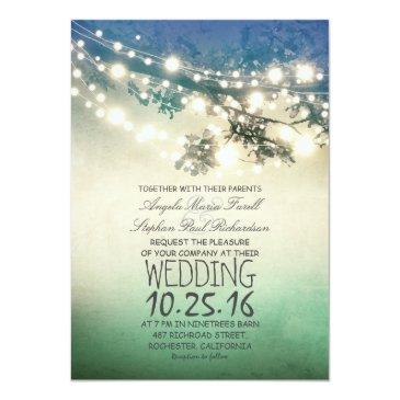 rustic tree branches & string lights teal wedding