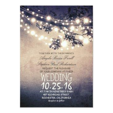 Small Rustic Tree Branches & String Lights Wedding Invitationss Front View