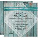 rustic turquoise painted wood wedding invitations