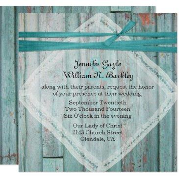 rustic turquoise painted wood wedding