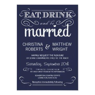 Small Rustic Typography Navy Blue Wedding Invitationss Front View