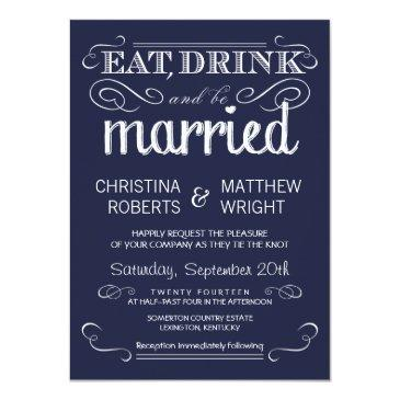 rustic typography navy blue wedding invitation