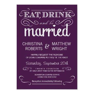 Small Rustic Typography Plum Purple Wedding Invitationss Front View
