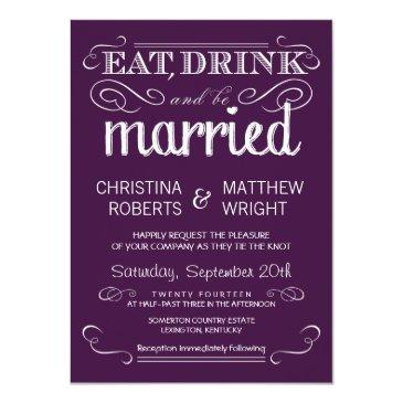 rustic typography plum purple wedding