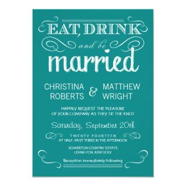 rustic typography teal blue wedding invitations