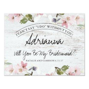 rustic vintage floral wood bridesmaid invitations