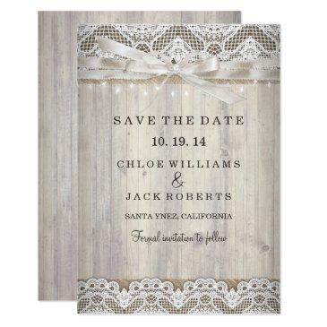 rustic vintage lace wood wedding save the date