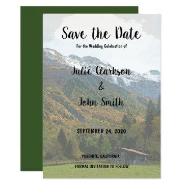 rustic vintage mountain wedding save the date