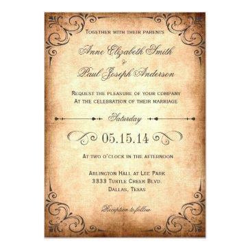 Small Rustic Vintage Wedding Invitation Front View
