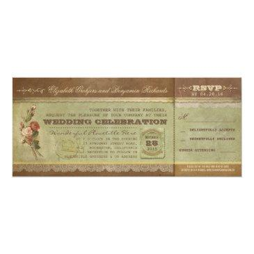 rustic vintage wedding tickets with rsvp invitation