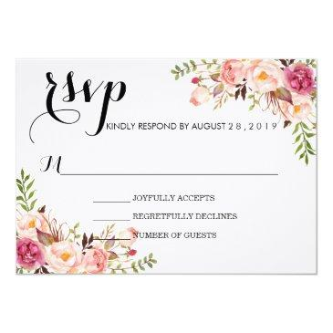 rustic watercolor floral wedding rsvp/no meal
