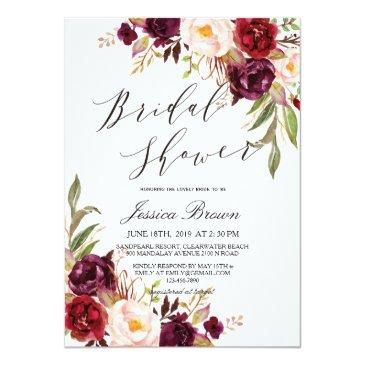 Small Rustic Watercolor Floral Wreath Bridal Shower Invitationss Front View