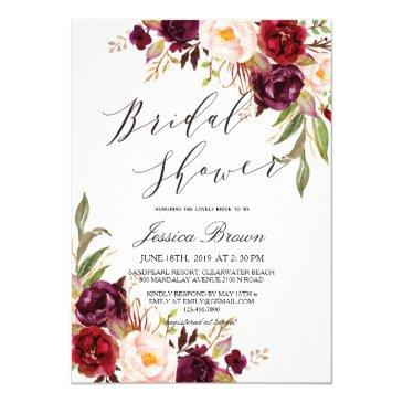 rustic watercolor floral wreath bridal shower