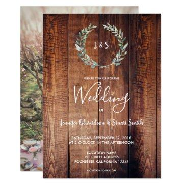 rustic watercolor leaves monogram photo wedding