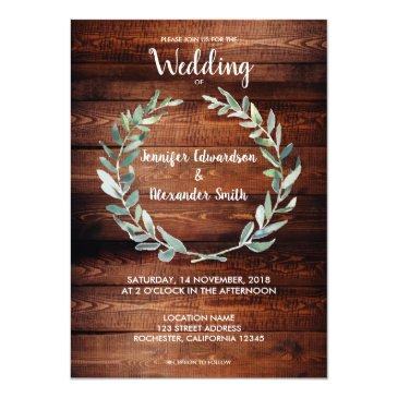 rustic watercolor olive leaves monogram wedding