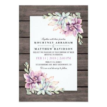 Small Rustic Watercolor Succulent Floral Wedding Invitationss Front View