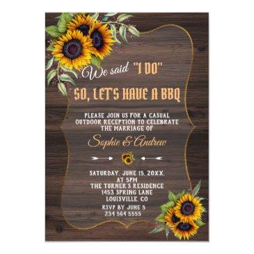 rustic watercolor sunflowers wood wedding i do bbq invitation