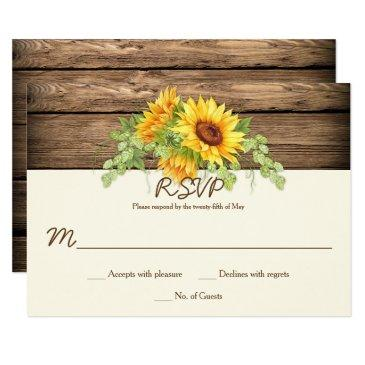 rustic watercolor sunflowers wreath barn wood rsvp