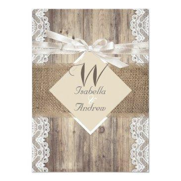 Small Rustic Wedding Beige White Lace Wood Burlap 2 Invitationss Front View