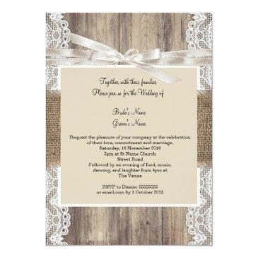 Small Rustic Wedding Beige White Lace Wood Burlap 2 Invitationss Back View