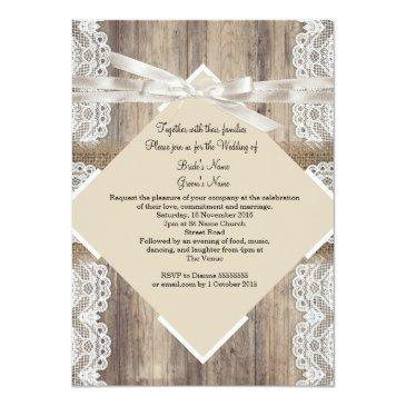 Small Rustic Wedding Beige White Lace Wood Burlap 2a Back View