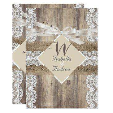 rustic wedding beige white lace wood burlap 2a