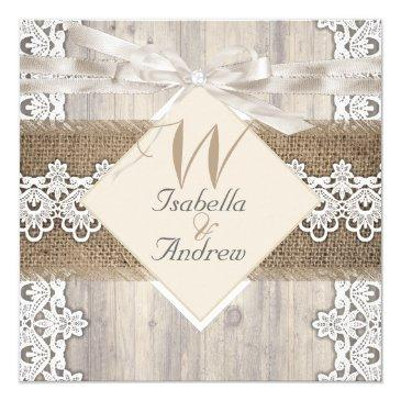 Small Rustic Wedding Beige White Lace Wood Burlap Ab Front View