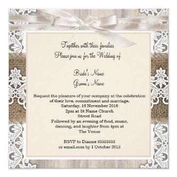 Small Rustic Wedding Beige White Lace Wood Burlap Ab Invitationss Back View