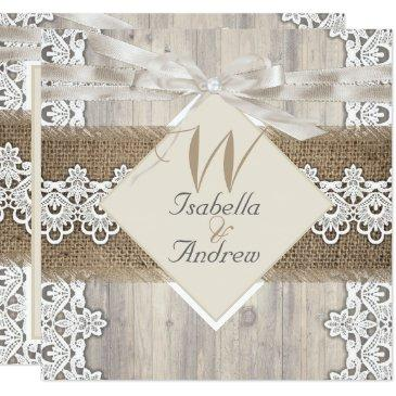 rustic wedding beige white lace wood burlap ab