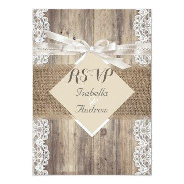 Small Rustic Wedding Beige White Lace Wood Rsvp Invitation Front View