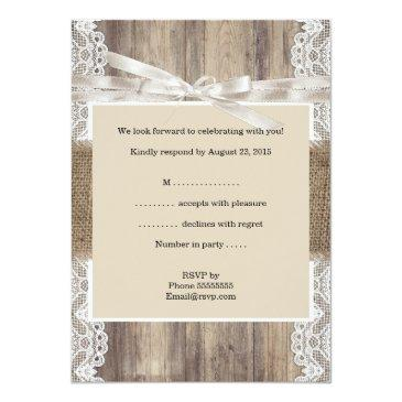 Small Rustic Wedding Beige White Lace Wood Rsvp Invitation Back View