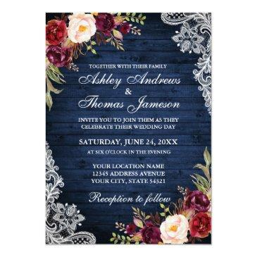 Small Rustic Wedding Blue Wood Burgundy Floral Lace Invitations Front View
