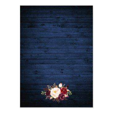 Small Rustic Wedding Blue Wood Burgundy Floral Lace Invitation Back View