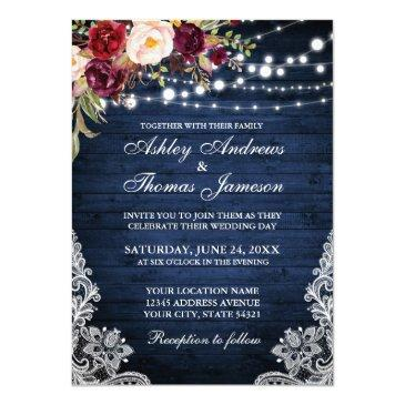 Small Rustic Wedding Blue Wood Lights Lace Floral Invite Front View