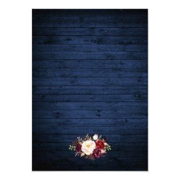 Small Rustic Wedding Blue Wood Lights Lace Floral Invite Back View