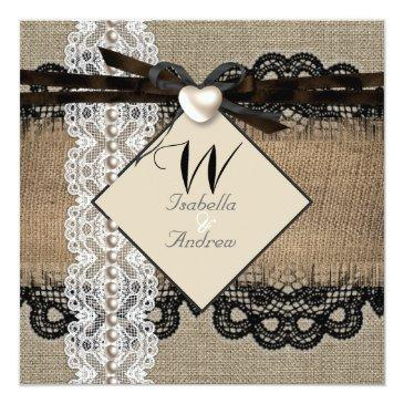 rustic wedding burlap hessian lace pearl heart