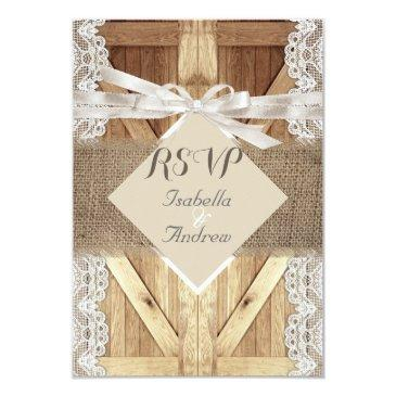 rustic wedding door beige white lace wood rsvp