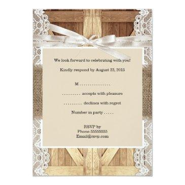 Small Rustic Wedding Door Beige White Lace Wood Rsvp Invitationss Back View