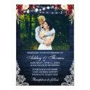 rustic wedding floral blue wood lights lace photo invitation