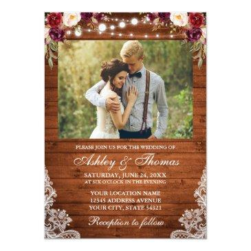 Small Rustic Wedding Floral Wood Lights Lace Photo Front View