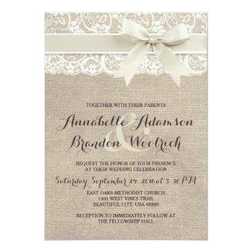 Small Rustic Wedding Invitations | Burlap Lace Bow Look Front View